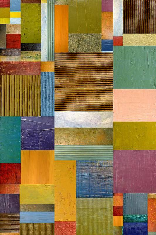 Textural Art Print featuring the painting Strips And Pieces Lv by Michelle Calkins