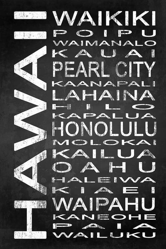 Subway Sign Art Print featuring the digital art Subway Hawaii State 1 by Melissa Smith
