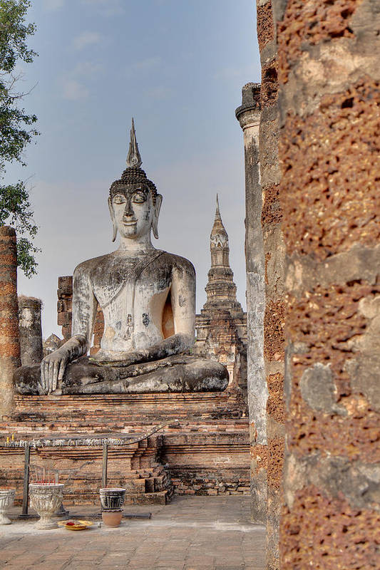 Sukhothai Art Print featuring the photograph Sukhothai Historical Park - Sukhothai Thailand - 011332 by DC Photographer