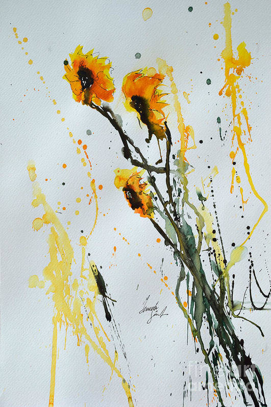 Sunflowers Art Print featuring the painting Sun-childs- Flower Painting by Ismeta Gruenwald