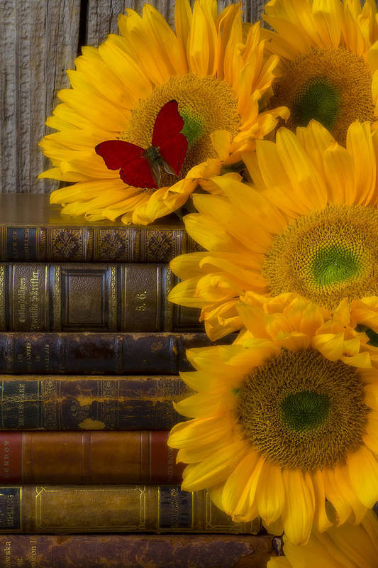 Sunflowers Art Print featuring the photograph Sunflowers And Old Books by Garry Gay