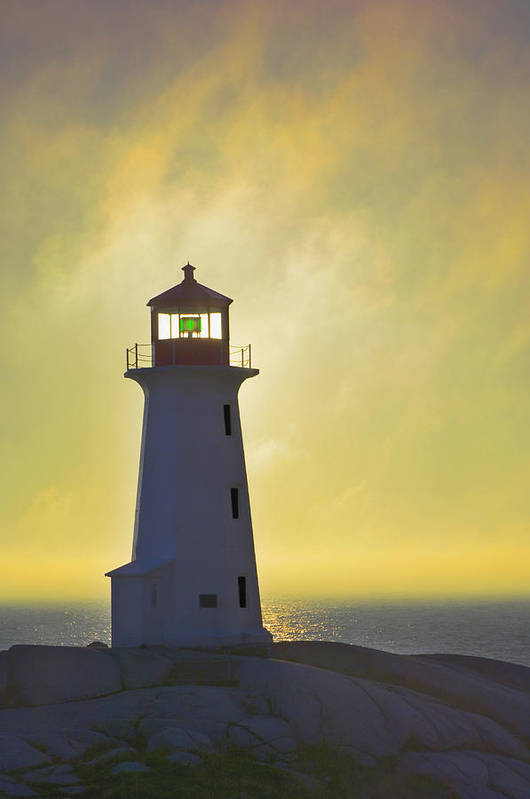 Beacons Art Print featuring the photograph Sunset Over Peggys Cove Lighthouse by Thomas Kitchin & Victoria Hurst
