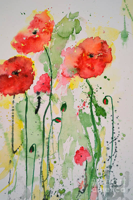 Poppies Art Print featuring the painting Tender Poppies - Flower by Ismeta Gruenwald