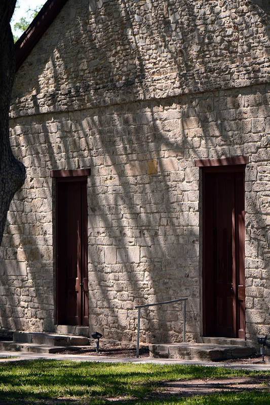 Historic Independence Baptist Church Art Print featuring the photograph Texas Pioneer Church Doors by Connie Fox