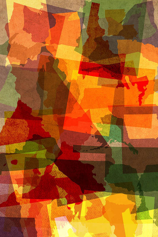United States Art Print featuring the mixed media The Abstract States Of America by Design Turnpike