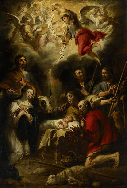 Christmas Cards Art Print featuring the painting The Adoration Of The Shepherds by Jan Cossiers