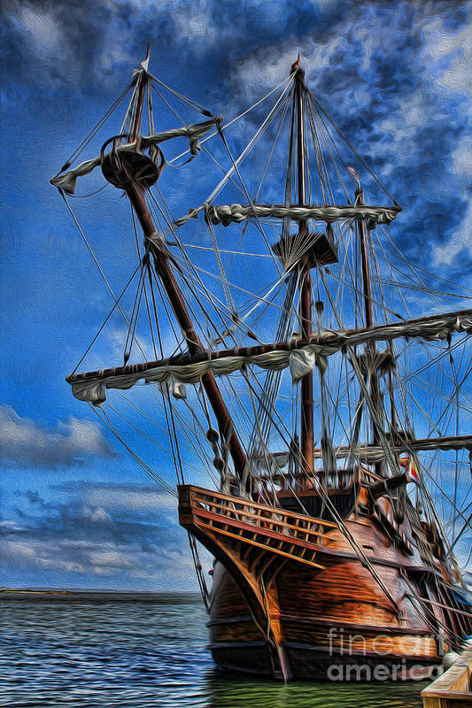 Ship Art Print featuring the photograph The Approaching Storm - Spanish Galleon by Lee Dos Santos