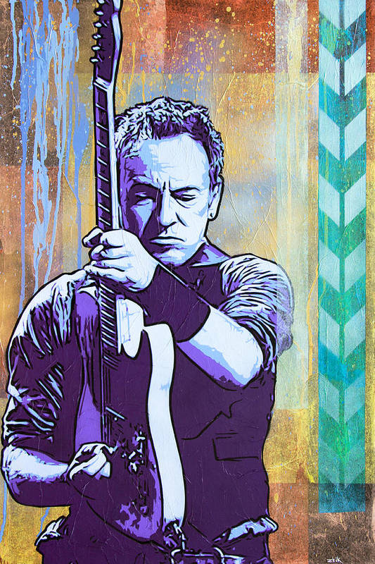 Bruce Springsteen Art Print featuring the painting The Boss by Bobby Zeik