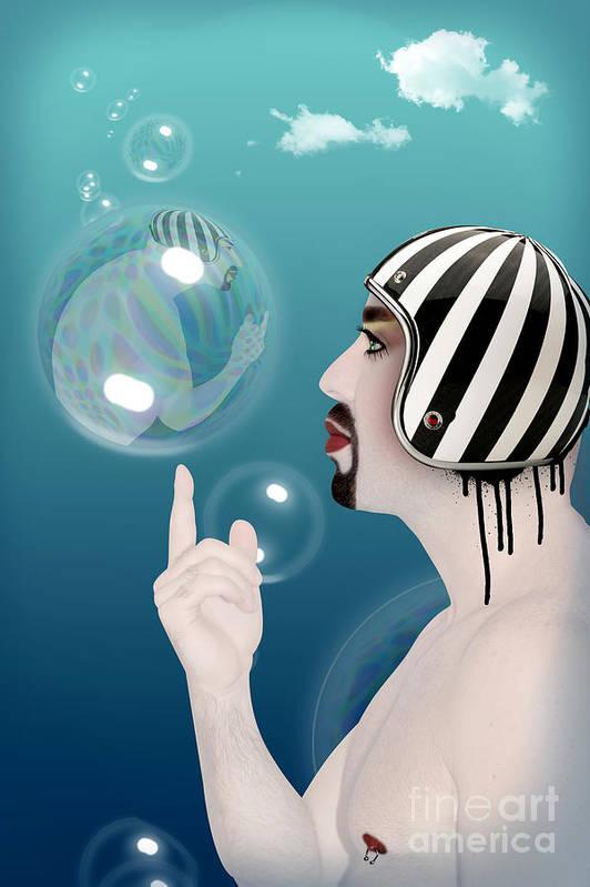 Funny Art Print featuring the digital art the Bubble man by Mark Ashkenazi
