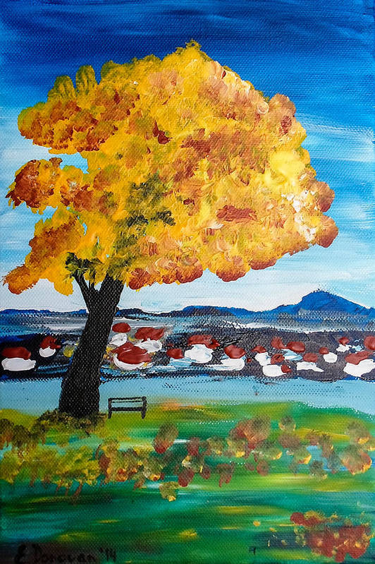 Tree Art Print featuring the painting The Golden Tree Of Nish by Eliza Donovan