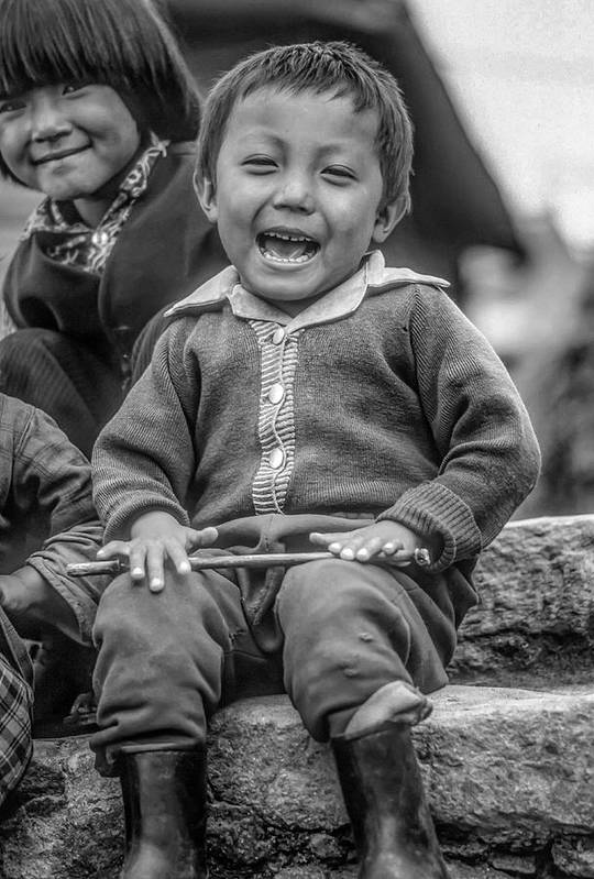 Himalaya Art Print featuring the photograph The Power Of Smiles Bw by Steve Harrington