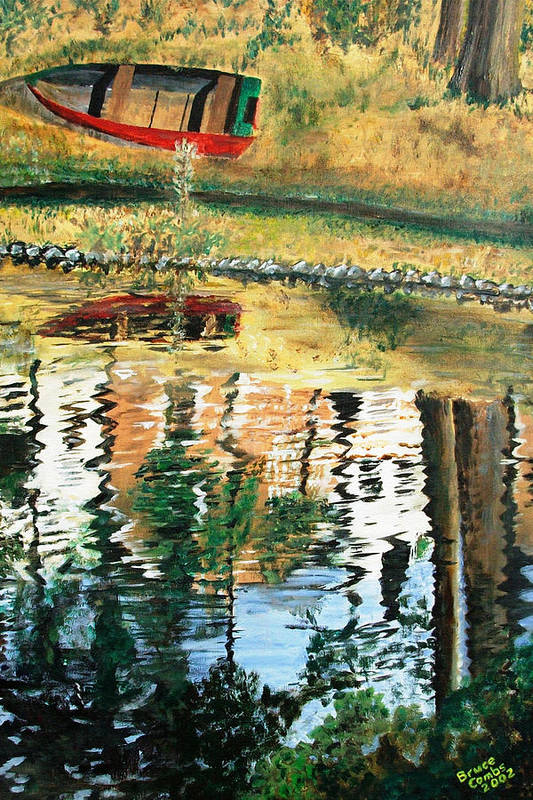 Red Art Print featuring the painting The Red Boat by Bruce Combs - REACH BEYOND
