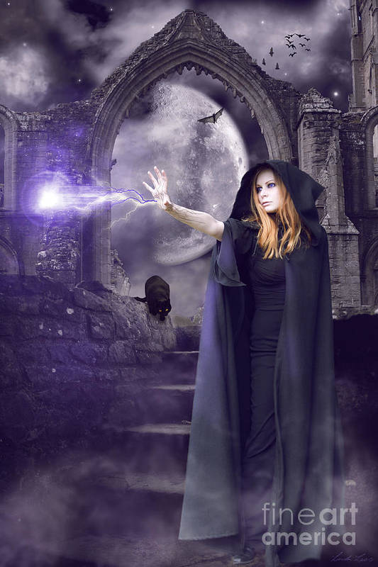 Halloween Art Print featuring the digital art The Spell Is Cast by Linda Lees