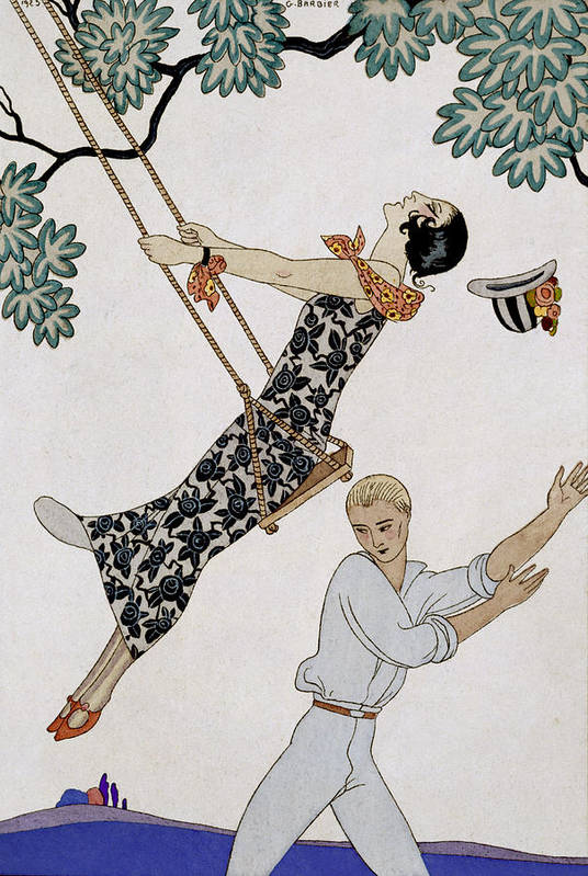 L'escarpolette Art Print featuring the painting The Swing by Georges Barbier