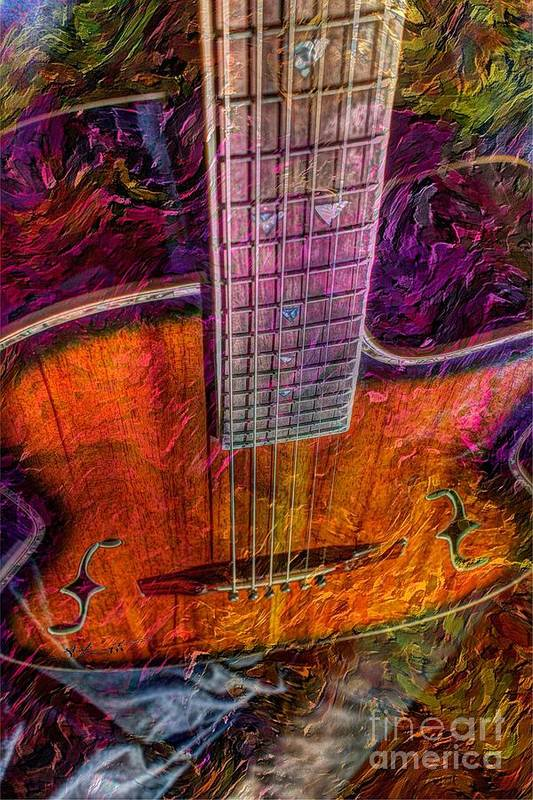 Acoustic Art Print featuring the photograph The Tuning Of Color Digital Guitar Art By Steven Langston by Steven Lebron Langston