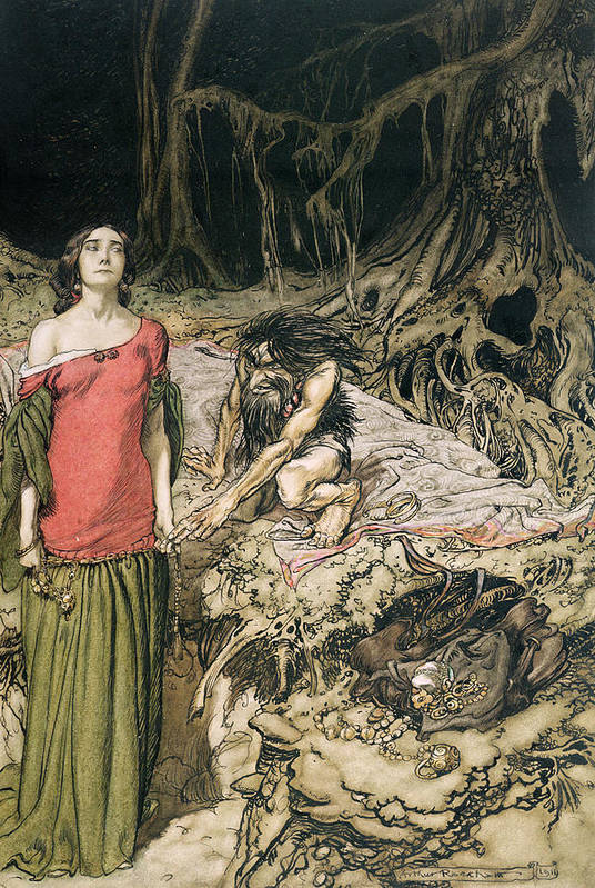 Grunhilde; Nibelungen Art Print featuring the drawing The Wooing Of Grimhilde The Mother Of Hagen From 'siegfried And The Twilight Of The Gods by Arthur Rackham