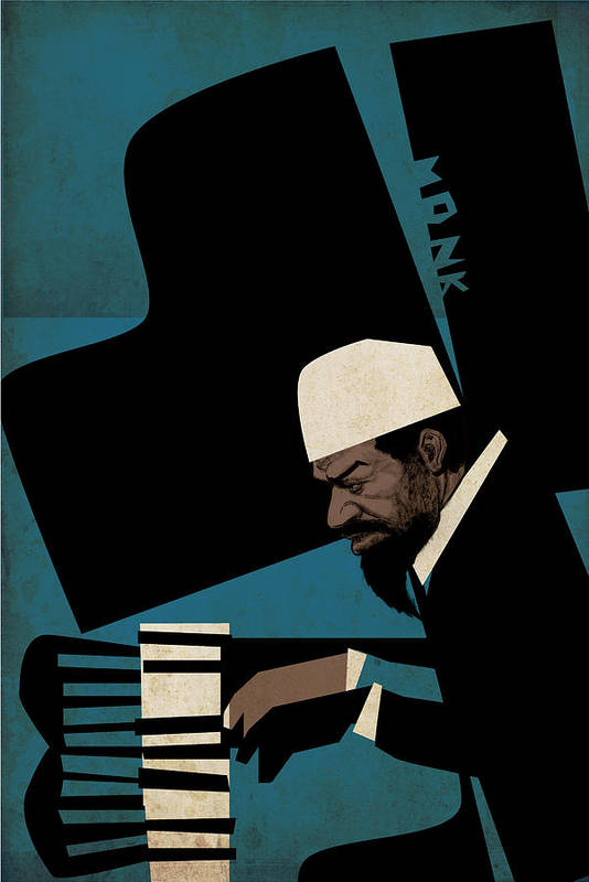 Thelonious Art Print featuring the digital art Thelonious Monk by Thomas Seltzer
