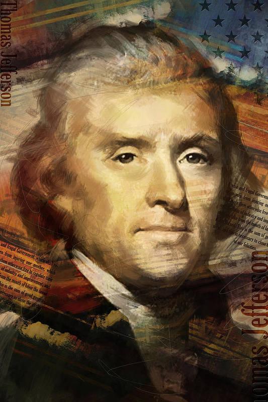 Thomas Jefferson Art Print featuring the painting Thomas Jefferson by Corporate Art Task Force
