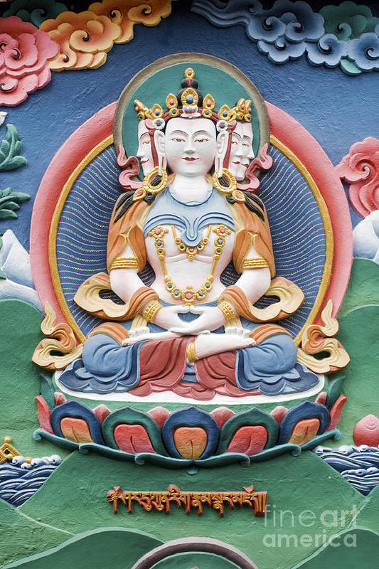 Buddha Art Print featuring the photograph Tibetan Buddhist Temple Deity Sculpture by Tim Gainey