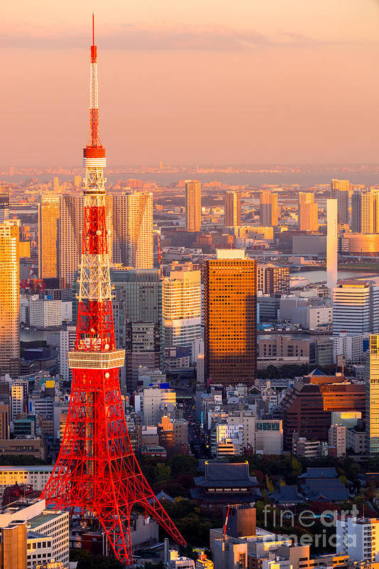 Tokyo Art Print featuring the photograph Tokyo Tower - Japan by Luciano Mortula
