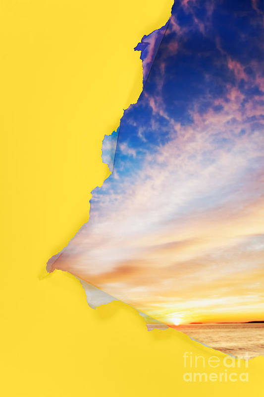 Torn Print featuring the photograph Torn Paper Sunrise by Jo Ann Snover