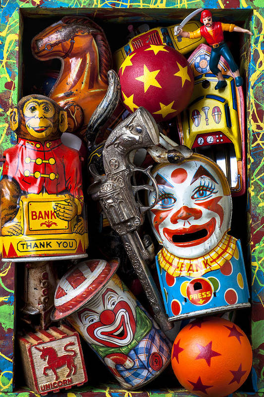 Clown Art Print featuring the photograph Toy Box by Garry Gay