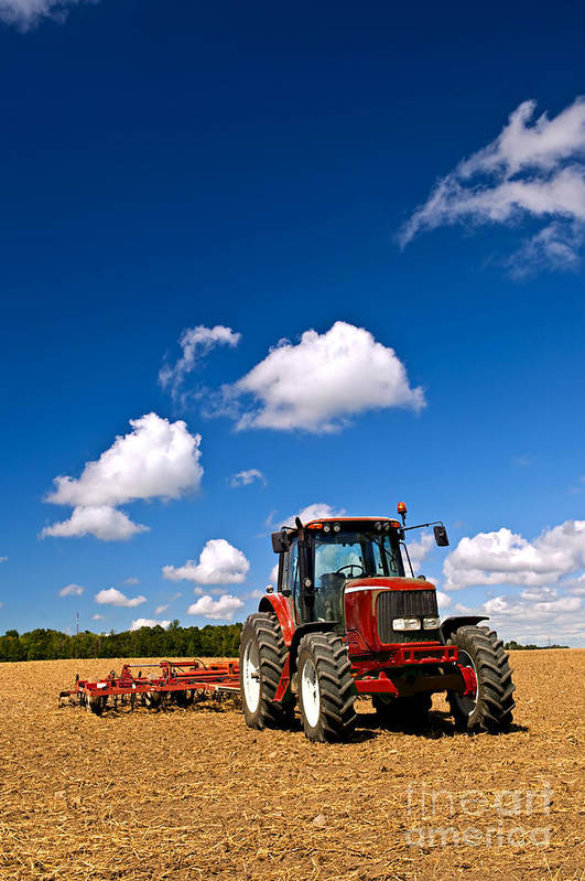 Tractor Art Print featuring the photograph Tractor In Plowed Field by Elena Elisseeva