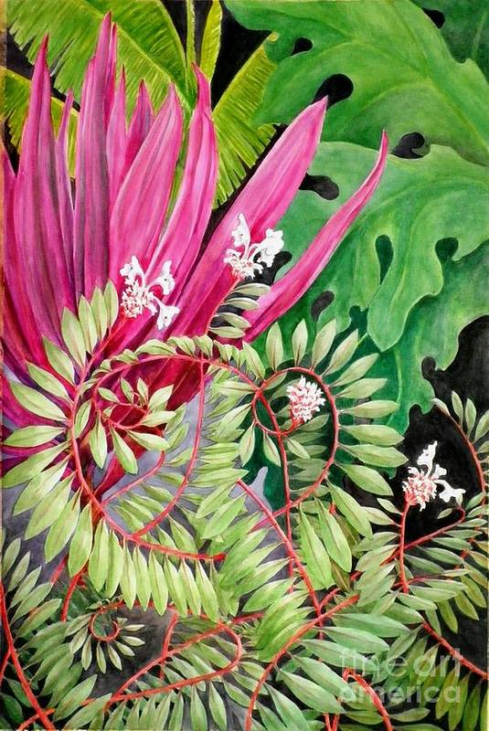 Garden Art Print featuring the painting Tropical Garden by Janet Summers-Tembeli