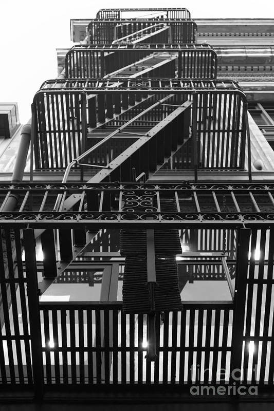 San Francisco Print featuring the photograph Urban Fabric - Fire Escape Stairs - 5d20592 - Black And White by Wingsdomain Art and Photography
