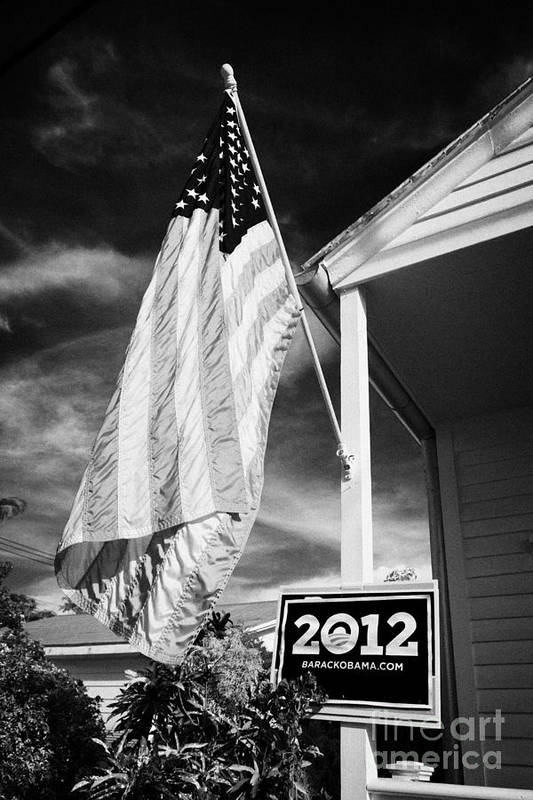 2012 Art Print featuring the photograph Us Flag Flying And Barack Obama 2012 Us Presidential Election Poster Florida Usa by Joe Fox