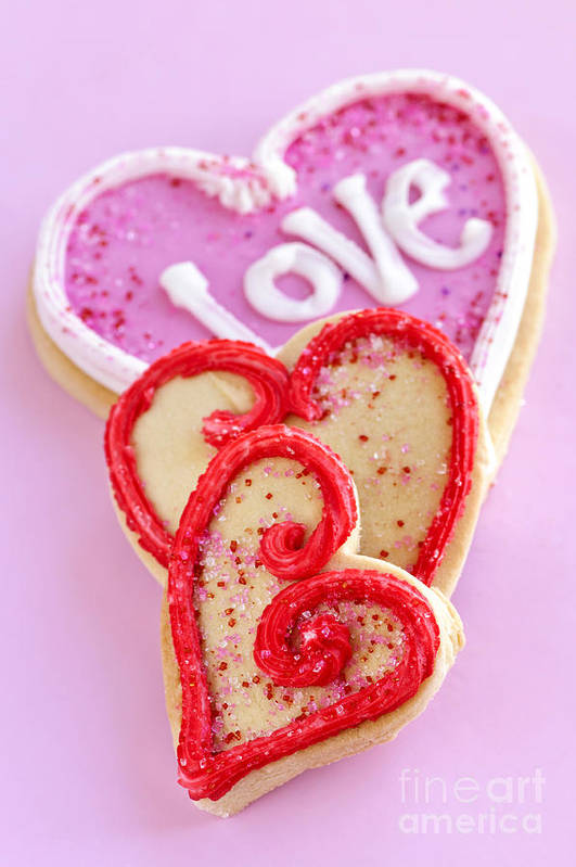 Cookies Print featuring the photograph Valentine Hearts by Elena Elisseeva