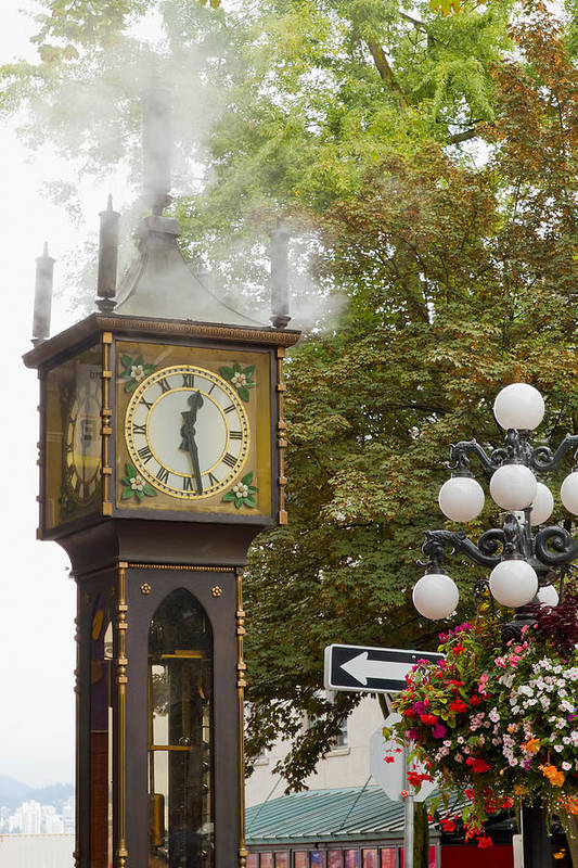 Vancouver Art Print featuring the photograph Vancouver Bc Historic Gastown Steam Clock by Jit Lim