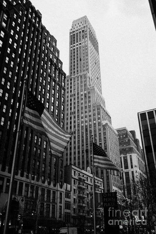 Usa Art Print featuring the photograph view of pennsylvania bldg nelson tower and US flags flying on 34th street from 1 penn plaza new york by Joe Fox