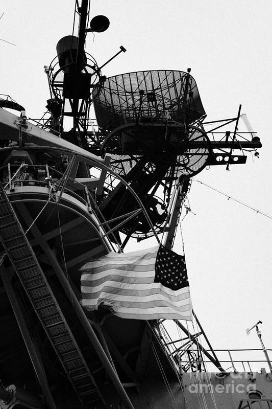 Usa Art Print featuring the photograph view of the stars and stripes flag on the bridge of the Intrepid Sea Air Space Museum by Joe Fox