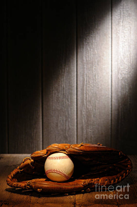 Baseball Art Print featuring the photograph Vintage Baseball by Olivier Le Queinec