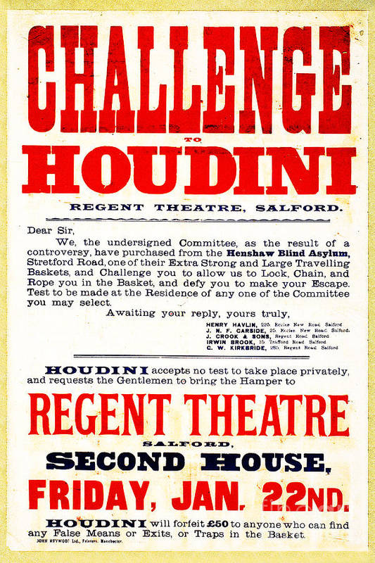 Houdini Art Print featuring the photograph Vintage Challenge Houdini Poster by Wingsdomain Art and Photography