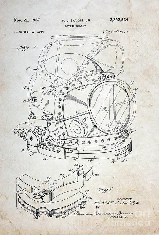 Vintage dive helmet blueprint art print by paul ward paul ward art print featuring the photograph vintage dive helmet blueprint by paul ward malvernweather Choice Image