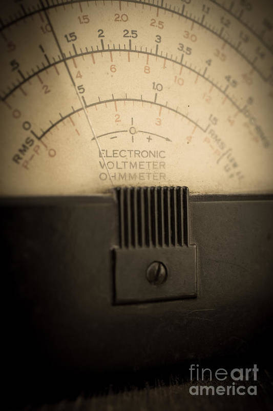 Volts Art Print featuring the photograph Vintage Electric Meter by Edward Fielding