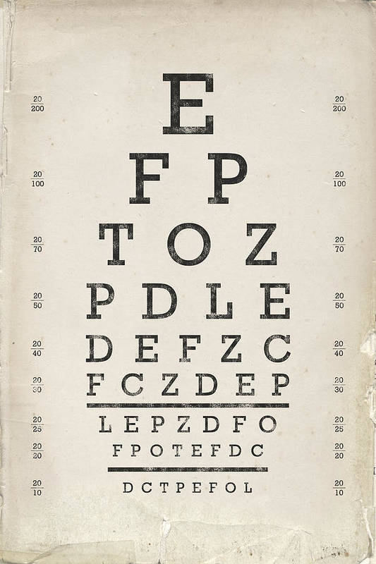 graphic about Eye Chart Printable named Typical Eye Chart Artwork Print