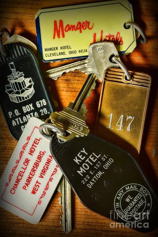Paul Ward Art Print featuring the photograph Vintage Hotel Keys by Paul Ward
