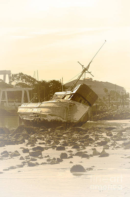 Shipwreck Art Print featuring the photograph Vintage Shipwreck by Artist and Photographer Laura Wrede