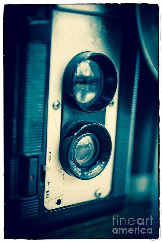 Vintage; Classic; Old; Lens; Camera; Twin; Reflex; Flash; Moody; Camera; Display; Classic; Photography; Isolated; White; Earth; Visual; Discovery; Technology; Galaxy; Lens; Science; Reflex; Antique; Vintage; Eye; Metal; Glass Art Print featuring the photograph Vintage Twin Lens Reflex Camera by Edward Fielding