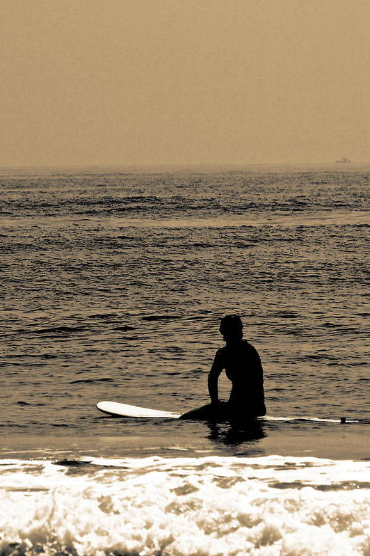 Surfer Art Print featuring the photograph Waiting by Tom Gari Gallery-Three-Photography