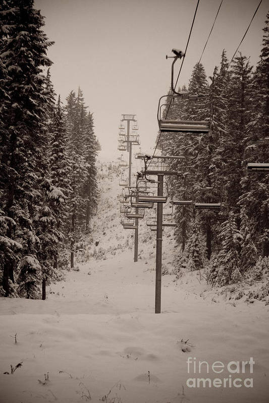Oregon Art Print featuring the photograph Waiting Ski Lifts by Cari Gesch
