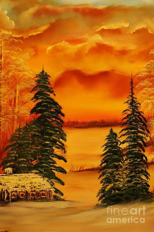 Warm Art Print featuring the painting Warm Snow-original Sold- Buy Giclee Print Nr 34 Of Limited Edition Of 40 Prints by Eddie Michael Beck