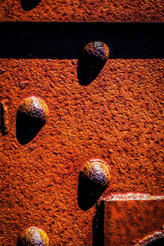 Abstract Art Print featuring the photograph Wet Rivets by Bob Orsillo