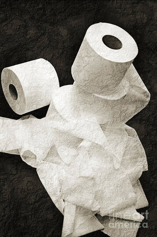 Bathroom Art Print featuring the photograph Where Is My Spare Roll Bw V1 by Andee Design