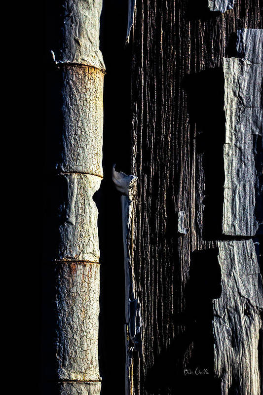Abstract Print featuring the photograph White Hinge On The Old Red Barn by Bob Orsillo