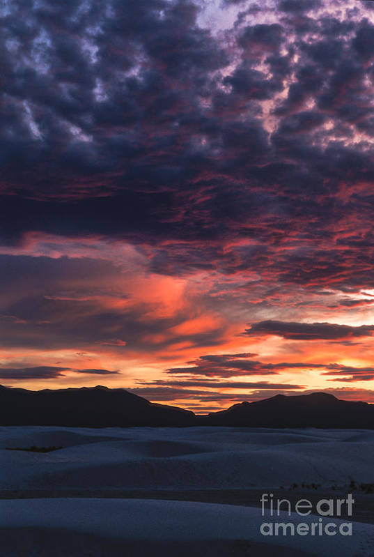 White Sands Art Print featuring the photograph White Sands Sunset by Sandra Bronstein