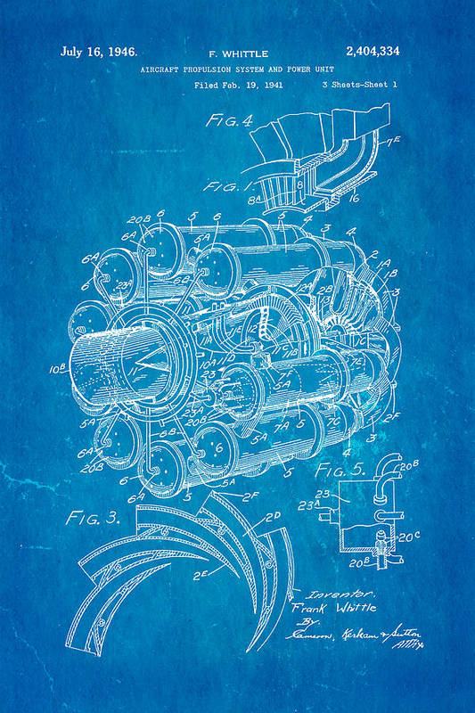 Whittle jet engine patent art 1946 blueprint art print by ian monk aviation art print featuring the photograph whittle jet engine patent art 1946 blueprint by ian monk malvernweather Image collections